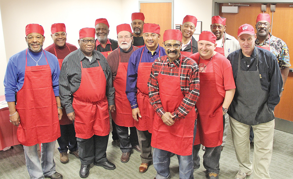 Chefs: (front row, from left): Ricardo Stovall, Rev. E.T. Burton, Councilman Bill Bestpitch, Darnell Glover, John Elliott, Michael Creasy, Jack Ehlenback. Back row:  Andre' Peery, Peter Lewis, Lee Graves, Rev. Dwight Steele, George Ferguson and Robert Hopson.   Photos by S. Hale