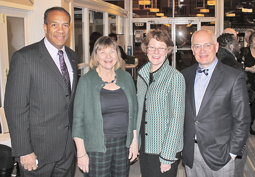 Presidents at Colab, (from left) President Nathaniel L. Bishop, Jefferson College of Health Sciences;  President Cynda Johnson, Virginia Tech Carilion School of Medicine; President Nancy Gray, Hollins University and President Michael Maxey, Roanoke College. President Jennifer Braaten, Ferrum College not pictured.