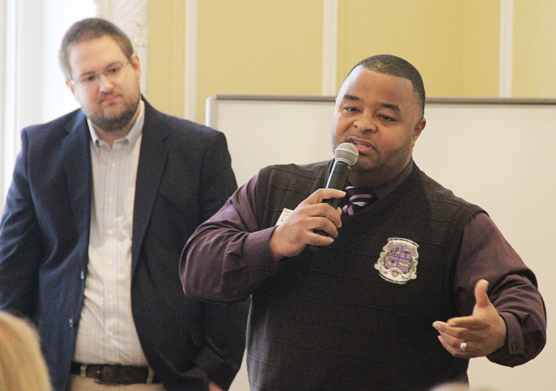 Jerel Rhodes, guidance counselor at Forest Park school talks about his Renaissance Academy and winning financial support at the recent Big Lick Soup Project (BLSP). Brad Stevens, project representative stands in background.