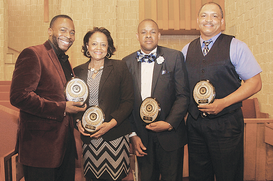 Honorees: RCPS educators honored by the NAACP, (from left): Jeff May of Westside Elementary; Ruth Claytor; Principal Archie Freeman and Bobby Martin, head football coach, all of William Fleming High School. Others honored (not pictured) included: Carolyn Patterson; Councilwoman Anita Price and Pastor Dwight & Mrs. Connie Steele of Pilgrim Baptist Church.