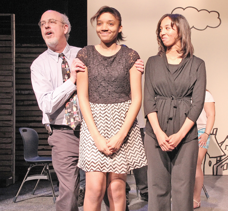 (l to r) William Fleming Theater director Larry Van Deventer with young playwrights Jazmine Otey and Kayla Saunders. (Photos by S. Hale)
