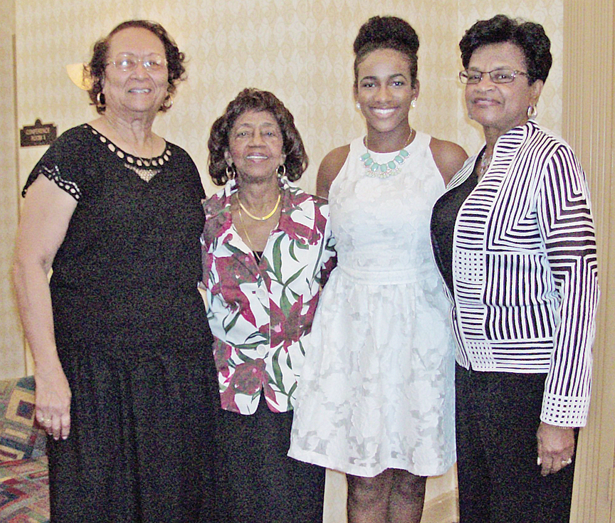 Recipiant and committee - from left: Pat Henry, scholarship co-chair; Janice Burks, chapter president; Sierra Brown, recipient; and Thelma Haynesworth, scholarship co-chair.