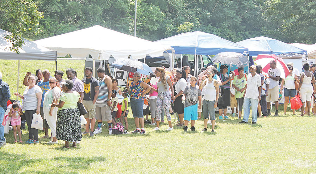 Attendees in Juneteenth food line.