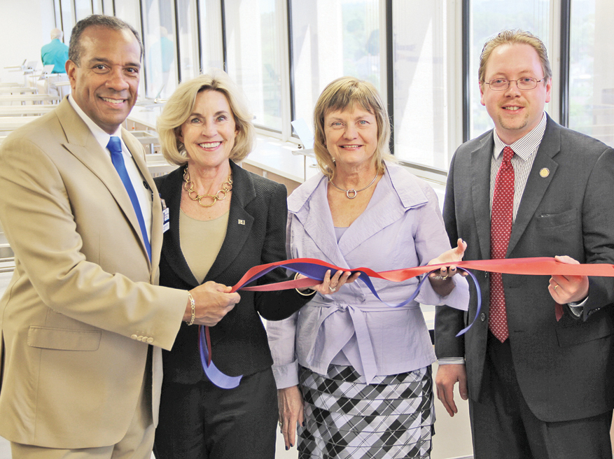 CEREMONY–from left: JCHS president, Dr. Nathaniel L. Bishop; Radford University president Penelope Kyle; Virginia Tech Carilion School of Medicine president and founding dean, Dr. Cynda Johnson and Virginia Delegate Joseph Yost hold ribbon after the ceremonial opening of Virginia Intercollegiate Anatomy Lab.  — photos by S. Hale
