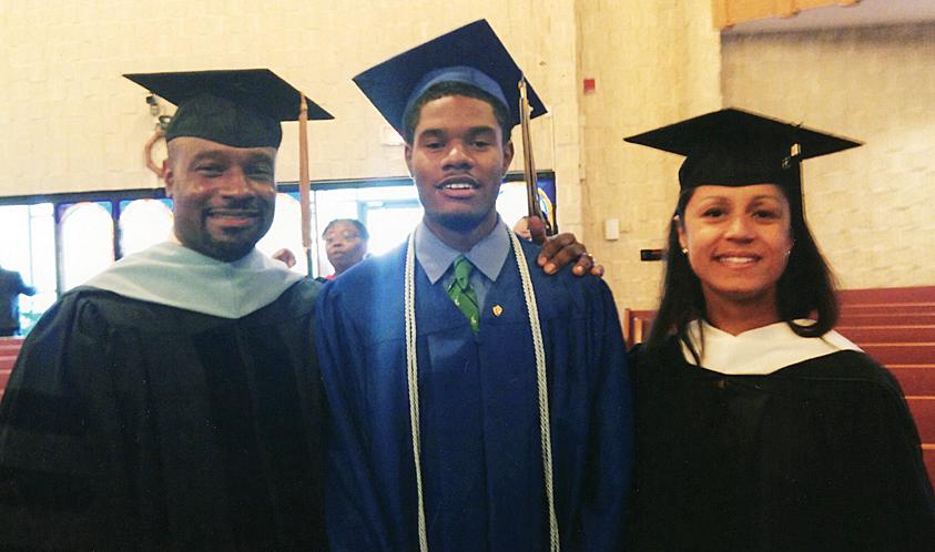 Graduates from left: Dr. Robert R. Johnson, Jr., Cameron A. and Aisha Johnson.