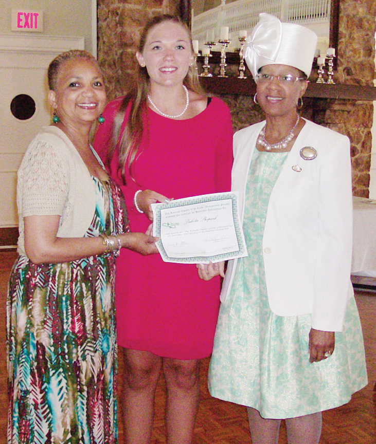 Presentation - from left: Councilwoman Anita Price, Scholarship Committee chair; Dakota Shepherd, recipient; and Connie Steele, Roanoke Chapter president.