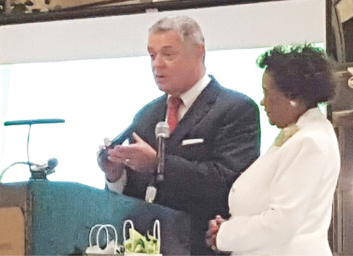 City Star: Roanoke City, Mayor David Bowers welcomes the members of the National Mole Organization during the 65th annual Conclave at Hotel Roanoke.  He presented Mole National President Doris Asbury with the ceremonial City Star and read a proclamation drafted for the occasion which declared Saturday, June 20, 2015 National Mole Day in the City of Roanoke.