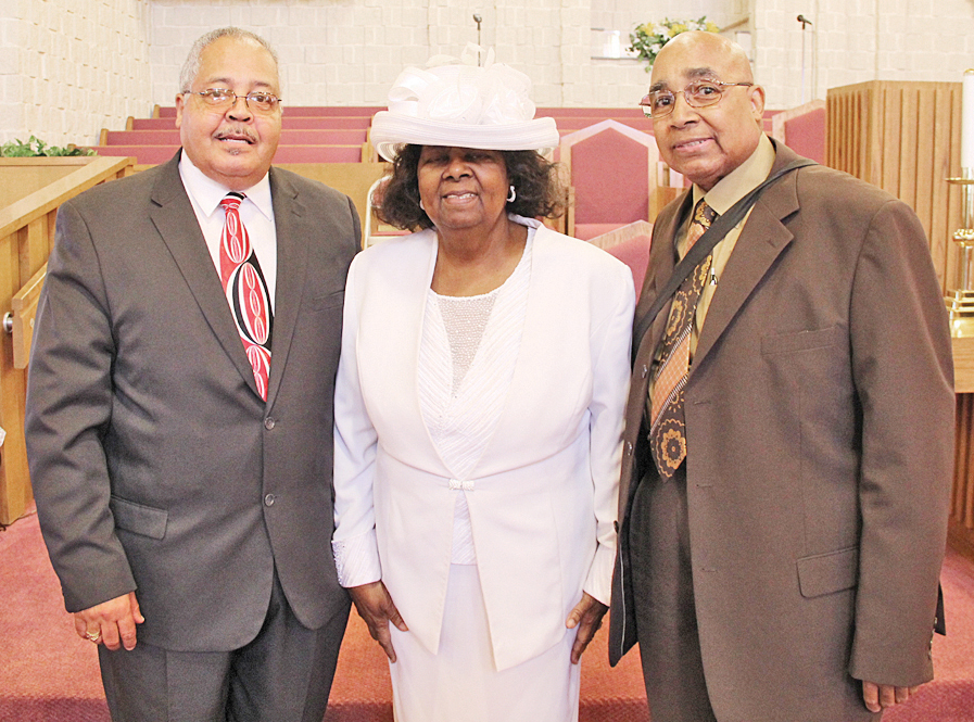 VBA: (from left) Rev. Dr. Charles Calloway, VBA Moderator with Alice Johnson, outgoing president VBA Women's Auxiliary and Rev. Dr. Ronald Brown.  photos by S. Hale