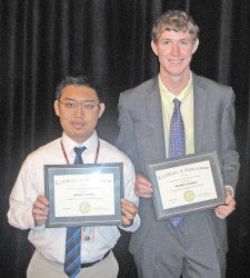 Recipients from left : Jonah Orevillo and Matthew Caffrey.