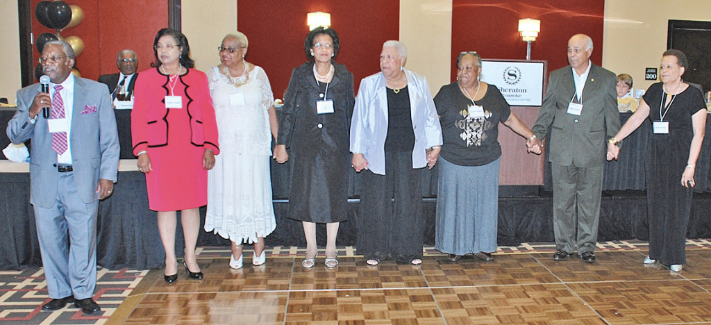 Reunion (from left): George Clemons, with GWC alumni: Cedonia Hughes, Harrilene Shackelford, Marylen Harmon, Elizabeth Taylor, Jean Green, Andre Peery and Betty Fennell at the Carver reunion.